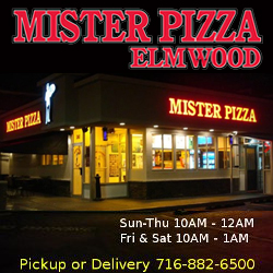Night time image of Mister Pizza